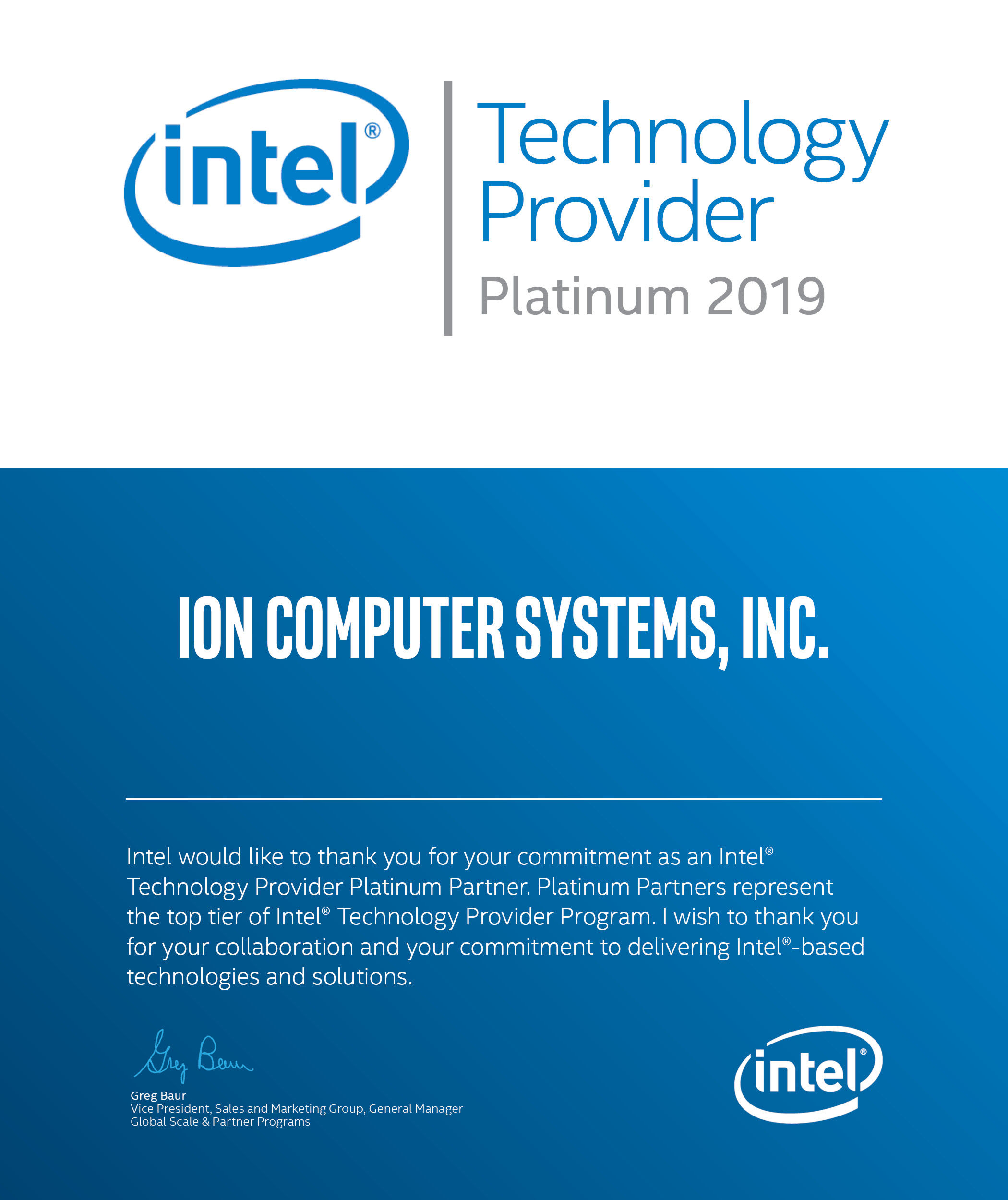 Intel Platinum Partner Certificate for ION Computer Systems, 2019
